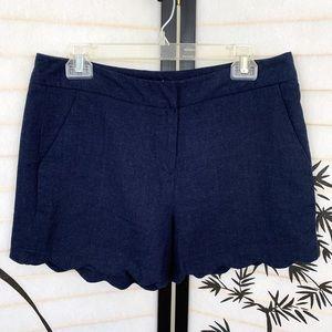 Cynthia Rowley Linen Blend Shorts Sz 8 Scalloped